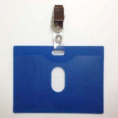 מנשא / מחזיק לתג שם כחול 10X7 סמ עם תפס קליפס