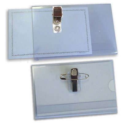 תג אורח שקוף קשיח 9X5.5 סמ עם קליפס וסיכה