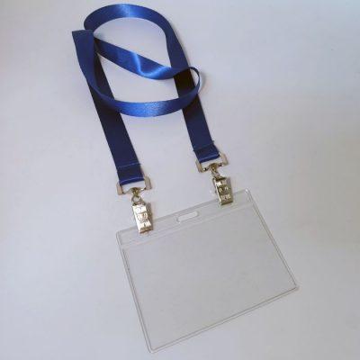שרוך לצוואר כחול עם קליפס כפול וכיס לתג 10X8 סמ