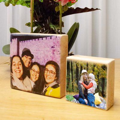 הדפסה על בלוק עץ טבעי מבצע זוגי 15X14.5 + 10X10